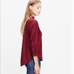 MADEWELL maroon red polka dot button down blouse